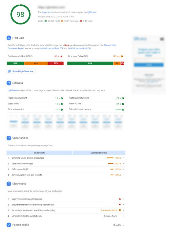 Google Page Speed Insights Results